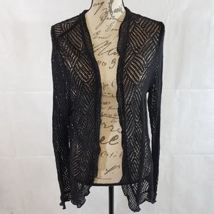 J.Jill Long Sleeve Open Front Netted Cardigan